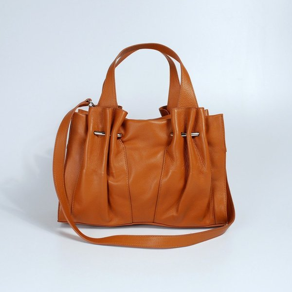 barr-+-barr-handbags-calfskin pleated satchel
