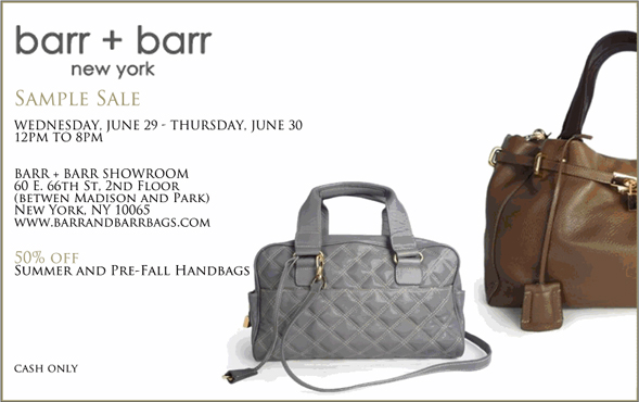 barr + barr handbags sample sale new york