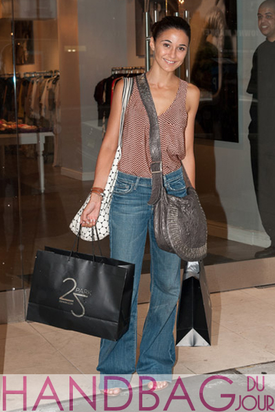 Emmanuelle-Chriqui-shops-at-25-Park-on-July-25,-2011-in-New-York-City large gray crossbody flap bag
