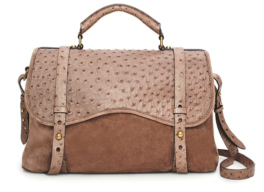 Westward by Emily and Meritt for Kate Spade New York collection suede and ostrich satchel