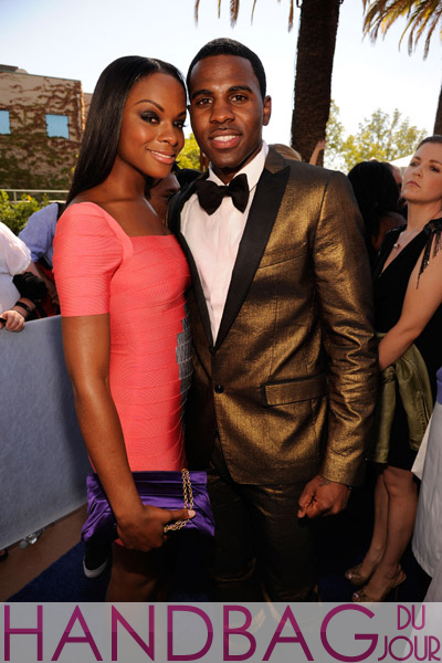 Actress-Tika-Sumpter-(L)-and-singer-Jason-Derulo-arrive-at-the-2011-Teen-Choice-Awards-held-at-the-Gibson-Amphitheatre-on-August-7,-2011-in-Universal-City,-California. bcbg purple satin clutch
