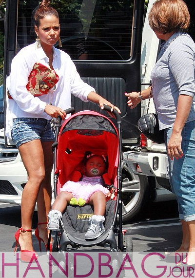 Christina-Milian-Alexander-McQueen-red print Demanta-Clutch out shopping at Fred Segal with daughter violet