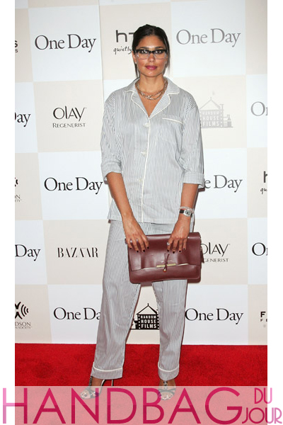 Designer-Rachel-Roy-attends-the-One-Day-premiere-at-the-AMC-Loews-Lincoln-Square-13-theater-on-August-8,-2011-in-New-York-City-aubergine-Celine-clutch Celine pajamas