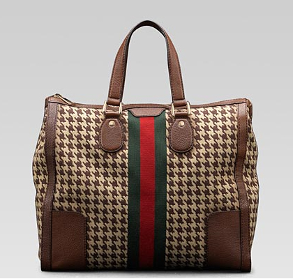 Gucci-'seventies'-large-Houndstooth tote-with-signature-web
