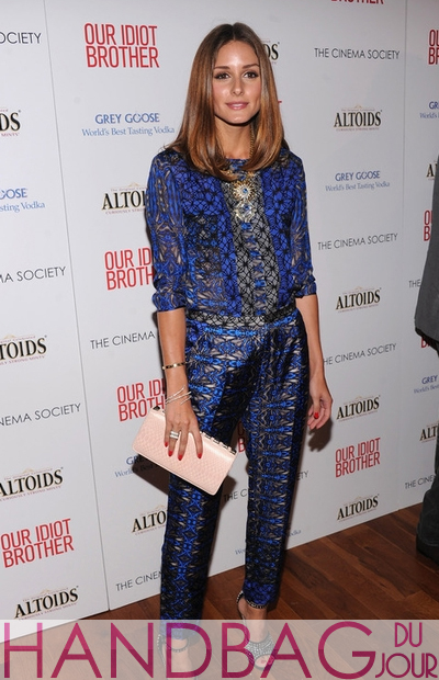 Olivia-Palermo-New-York-screening-of-Our-Idiot-Brother-in-Giuseppe-Zanotti-crystal-sandals-Tibi-Long-Sleeve-Cobweb-Lace-Blouse-and-Pants-pink-Victor-Hugo-studded-python-clutch