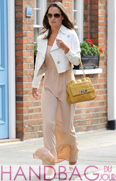 Pippa Middleton out in London wearing Twelfth Street by Cynthia Vincent Ruffle Hem Maxi Dress in Blush and carrying RI2K Women's Portobello Shoulder Bag  in Ochre yellow