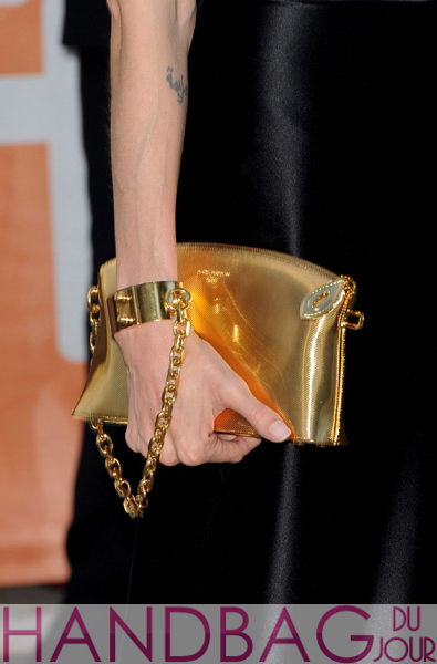 Actress-Angelina-Jolie's-gold-$15,000-Louis-Vuitton-Lockit-PM-Devotion-handcuff-clutch-handbag-at-Moneyball-premiere-at-the-2011-Toronto-International-Film-Festival-in-Toronto,-Canada