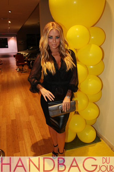 Aubrey-O'Day-at-the-NUVO-Lemon-Sorbet-launch-and-2012-Lamborghini-Aventador-LP-700-4-unveiling-carrying-a-silver-Kara-Ross-Dea-ring-lizard-clutch.