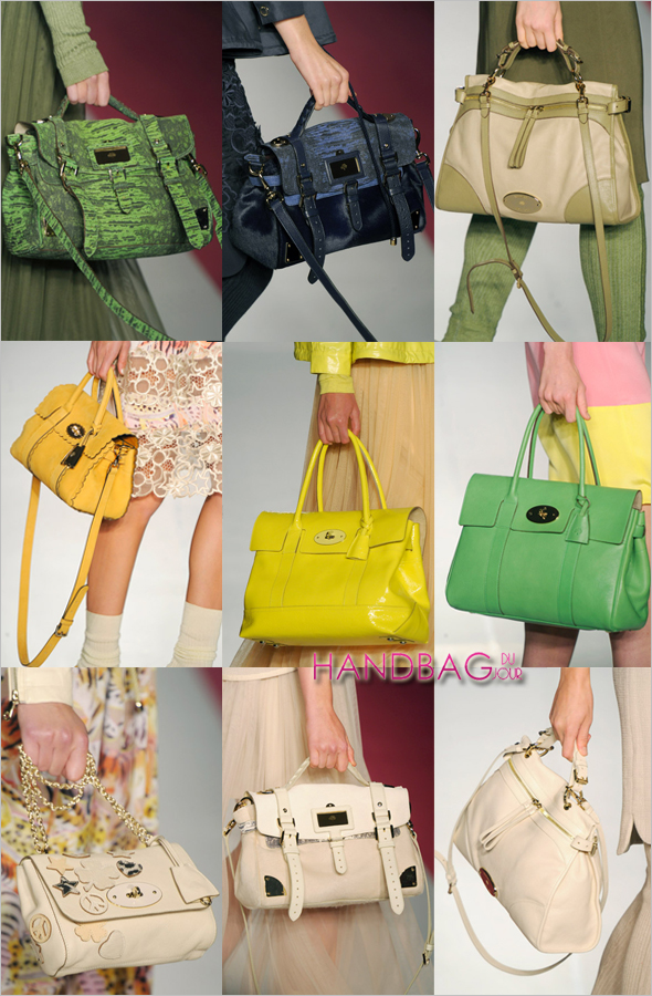 Handbags-on-the-runway-at-Mulberry-London-Fashion-Week-Spring-2012 Mulberry Bayswater Satchel Mulberry Alexa bag grass green navy blue black Evelina Hobo leather Oversized Taylor Satchels summer khaki marshmallow white Mulberry Travel Bag from the new Travel Collection Spring/Summer 2012 runway