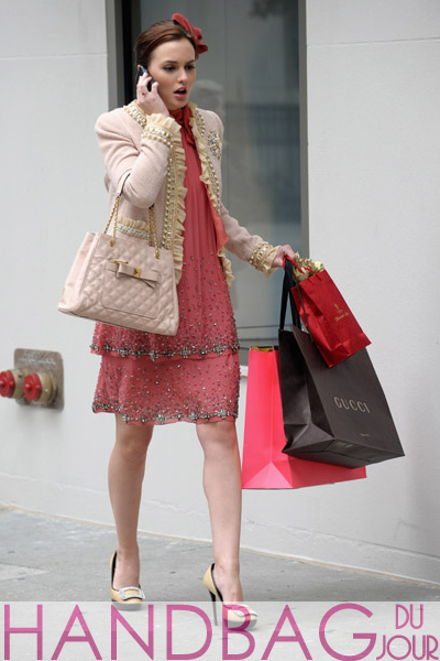 Leighton-Meester-on-set-of-Gossip-Girl-Moschino-ruffle-and-pearl-tweed-blazer-beaded-Alberta-Ferretti-chiffon-dress-Roger-Vivier-buckle-leather-and-raffia-platform-shoes-pink-Marc-Jacobs-Swing-tote-1