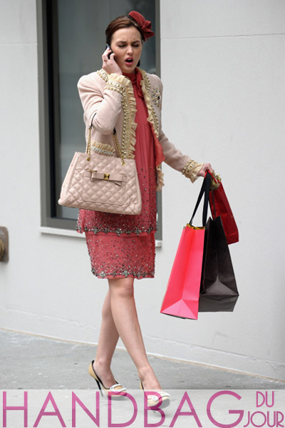 Leighton-Meester-on-set-of-Gossip-Girl-Moschino-ruffle-and-pearl-tweed-blazer-beaded-Alberta-Ferretti-chiffon-dress-Roger-Vivier-buckle-leather-and-raffia-platform-shoes-pink-Marc-Jacobs-Swing-tote-2