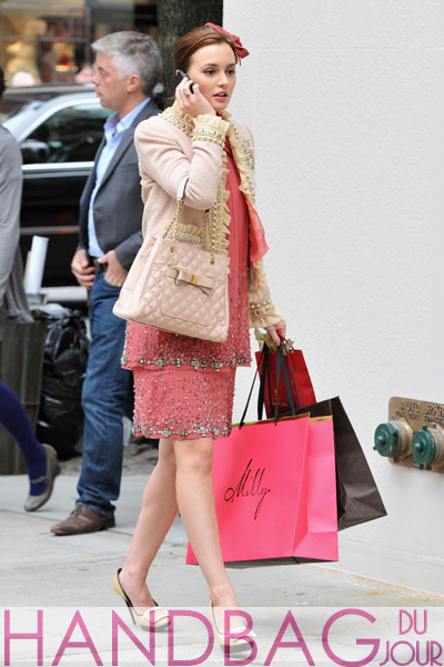 Leighton-Meester-on-set-of-Gossip-Girl-Moschino-ruffle-and-pearl-tweed-blazer-beaded-Alberta-Ferretti-chiffon-dress-Roger-Vivier-buckle-leather-and-raffia-platform-shoes-pink-Marc-Jacobs-Swing-tote-3
