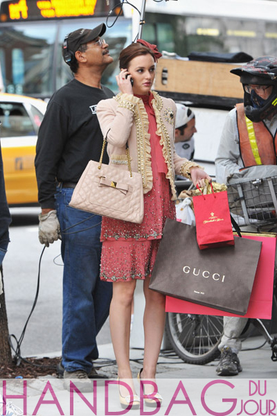 Leighton-Meester-on-set-of-Gossip-Girl-Moschino-ruffle-and-pearl-tweed-blazer-beaded-Alberta-Ferretti-chiffon-dress-Roger-Vivier-buckle-leather-and-raffia-platform-shoes-pink-Marc-Jacobs-Swing-tote