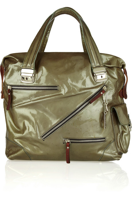 Pauric Sweeney Moonwalker patent-leather tote handbag du jour