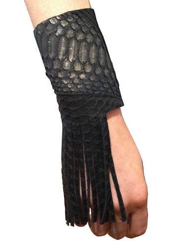 Sang-A-Kirna-Zabete-Fashion's-Night-Out-FNO-2011-leather-and-fringe-wrap-bracelet