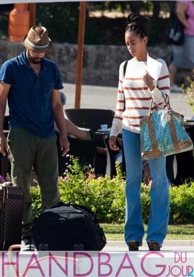 Solange Knowles-in-Croatia-metallic-blue-Fendi-satchel-handbag