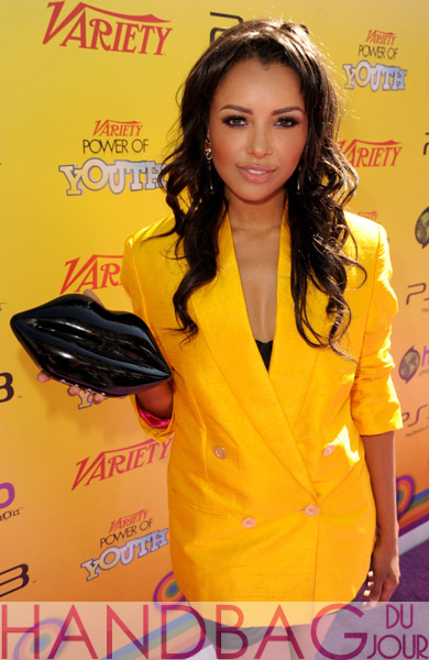 Actress-Kat-Graham-arrives-at-Variety's-5th-annual-Power-Of-Youth-event-presented-by-The-Hub-at-Paramount-Studios-on-October-22,-2011-in-Hollywood,-California-Lulu-Guinness-Black-Perspex-Lips-Clutch