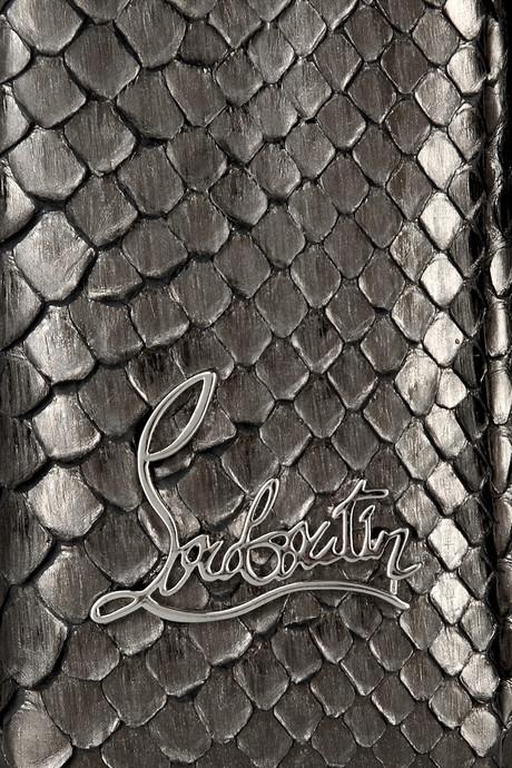 Christian Louboutin Artemis Spike-studded Metallic Python shoulder bag closeup