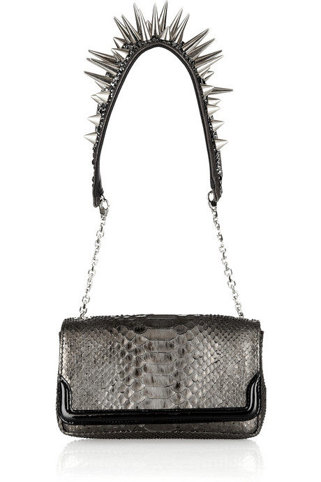 Christian Louboutin Artemis Spike-studded Metallic Python shoulder bag front