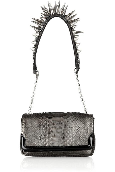 Christian Louboutin Artemis Spike-studded Metallic Python shoulder bag front