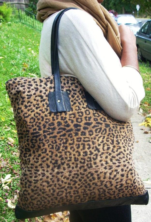 NKHenry Kimmy Leopard Print tote on shoulder