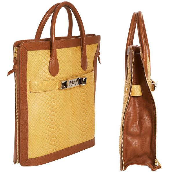 Proenza Schouler Python PS11 Tote in Gold-Saddle side views