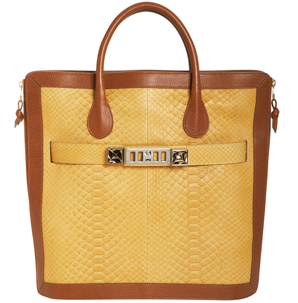 Proenza Schouler Python PS11 Tote in Gold-Saddle
