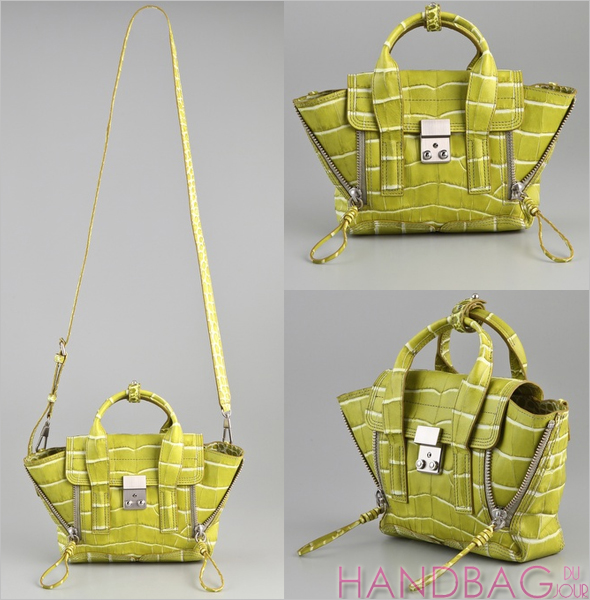3.1 Phillip Lim Pashli Mini Satchel pistachio green embossed-croc leather bag handbag du jour