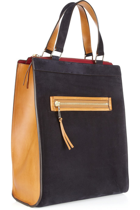 Chloe Lina suede and leather tote handbag trends - square totes