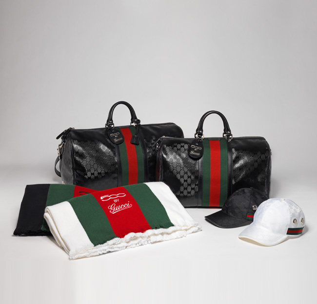 Gucci Fiat 500 Large and medium duffle bags in exclusive GG Imprimè fabric Nylon Interlocking GG baseball caps complete with 500 by Gucci logo Wool and silk blend travel blankets in black and white
