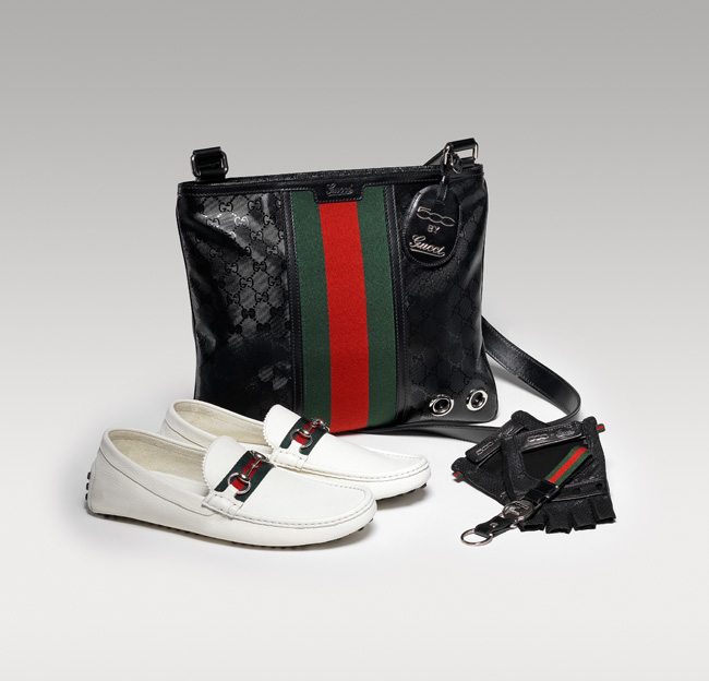 Gucci Fiat 500 Medium Messenger Bag with zip closure White soft grain leather driving shoes Black napa leather driving gloves Gucci green-red-green stripe key chain