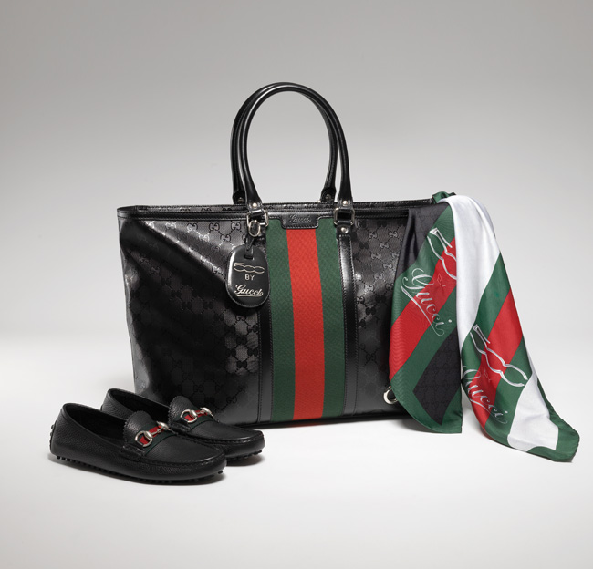 Gucci Fiat 500 Shopping tote in exclusive GG Imprimè fabric Silk 500 by Gucci scarf Black grain leather driving shoes