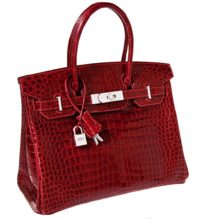 Hermès Exceptional Collection Shiny Rouge H Porosus Crocodile 30 cm Birkin Bag with Solid 18K White Gold & Diamond Hardware