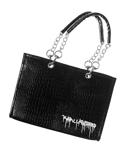 Chic bags on the cheap: Karl Lagerfeld Faux Crocodile-Embossed Graffiti Chain Tote Bag