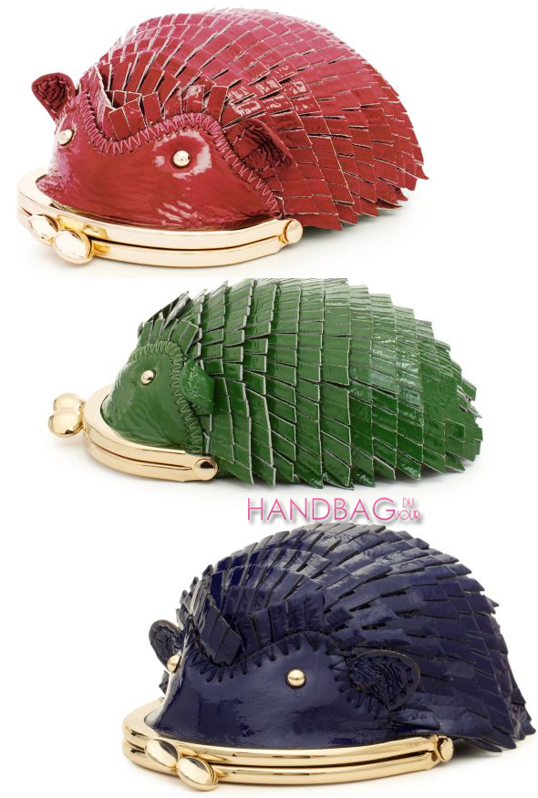 Kate Spade new york hedgehog coin purse in spearmint green, dark lapis blue and berry pink