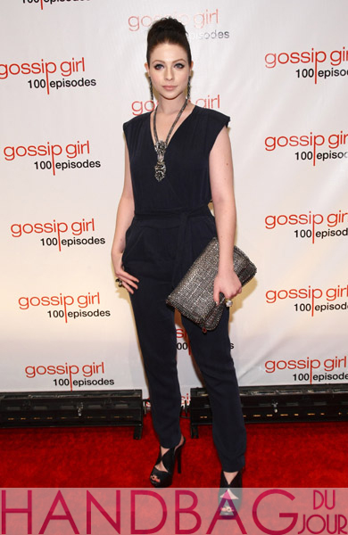 Michelle-Trachtenberg-attends-Gossip-Girl-100-episode-celebration-at-Cipriani-Wall-Street-on-November-19,-2011-in-New-York-City-with-a-Stella-McCartney-Winter-2011-Silver-Metalic-Boucle-Falabella-Clutch