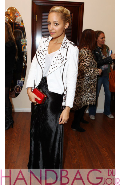 0b4dc83303 Celebrity handbag spottings: Nicole Richie with a House of Harlow Olivia  clutch; Joan Smalls with Amanda Pearl's Cosima Clutch; Rachel Bilson's Miu  Miu ...