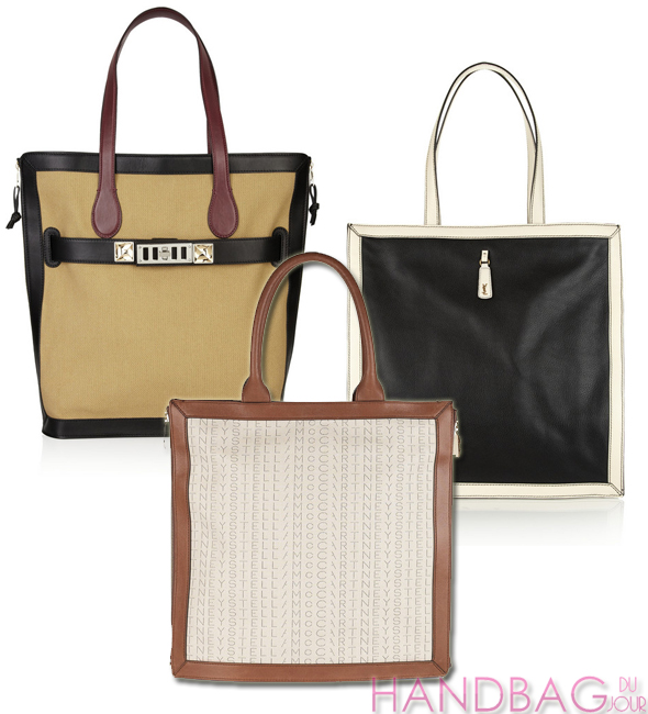 Stella-McCartney-Monogrammed-cotton-canvas-tote-Proenza-Schouler-PS11-canvas-and-leather-tote-YSL-Walky-two-tone-textured-leather-square tote handbag trends - square totes