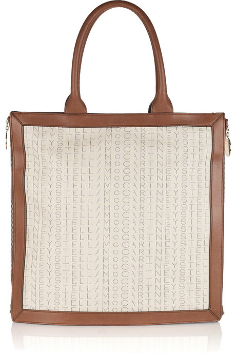 Stella McCartney Monogrammed cotton-canvas tote handbag trends - square totes