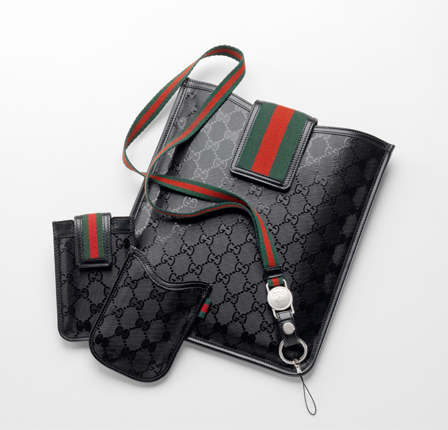 Gucci Fiat 500 iPad cover and mobile phone cases in exclusive GG Imprimè fabric along with red-green-red stripe cell phone strap