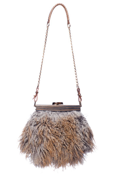 Capsule By Joy Gryson Astrakhan Fur Evening Bag