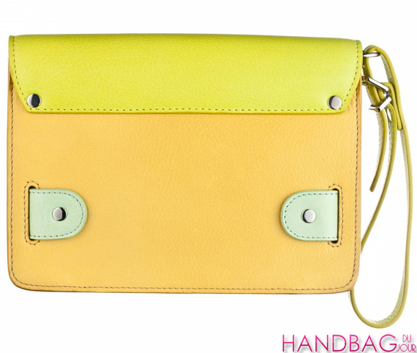 Proenza Schouler PS11 clutch in colorblock citron - back view