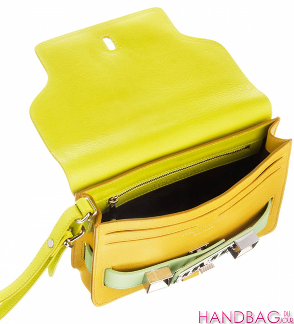 Proenza Schouler PS11 clutch in colorblock citron inside view