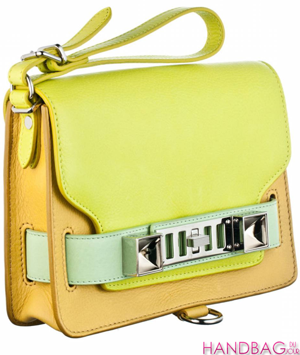 Proenza Schouler PS11 clutch in colorblock citron - side view
