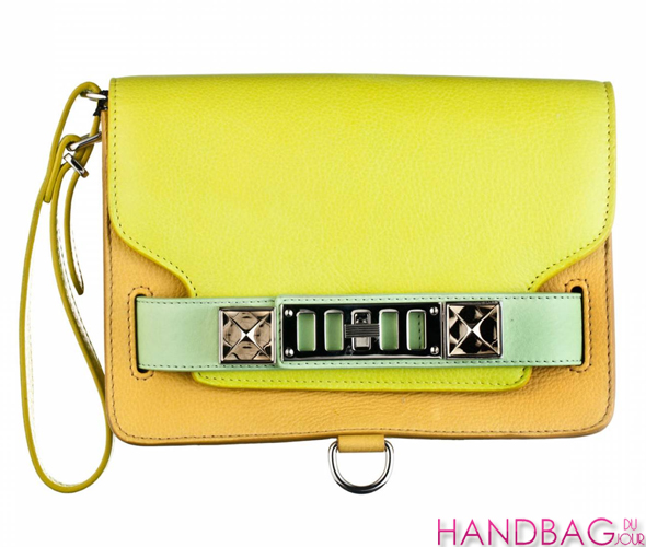 Proenza Schouler PS11 clutch in colorblock citron