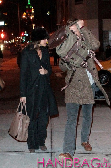 Ryan Gosling and Eva Mendes in NYC Salvatore Ferragamo Leather Tote Bag