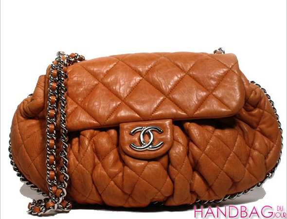 Vintage Chanel Leather Chain Round Crossbody Bag