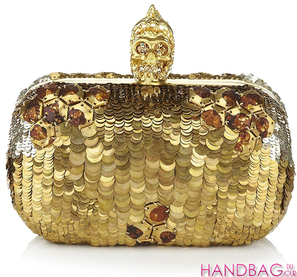 Alexander McQueen gold Sequin Skull box clutch - as seen on Beyonce