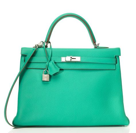 35cm Menthe Clemence Leather Hermes Kelly bag