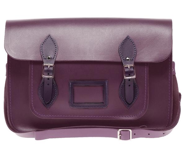 Cambridge Satchel Company Exclusive To ASOS 14 in Purple Leather Satchel
